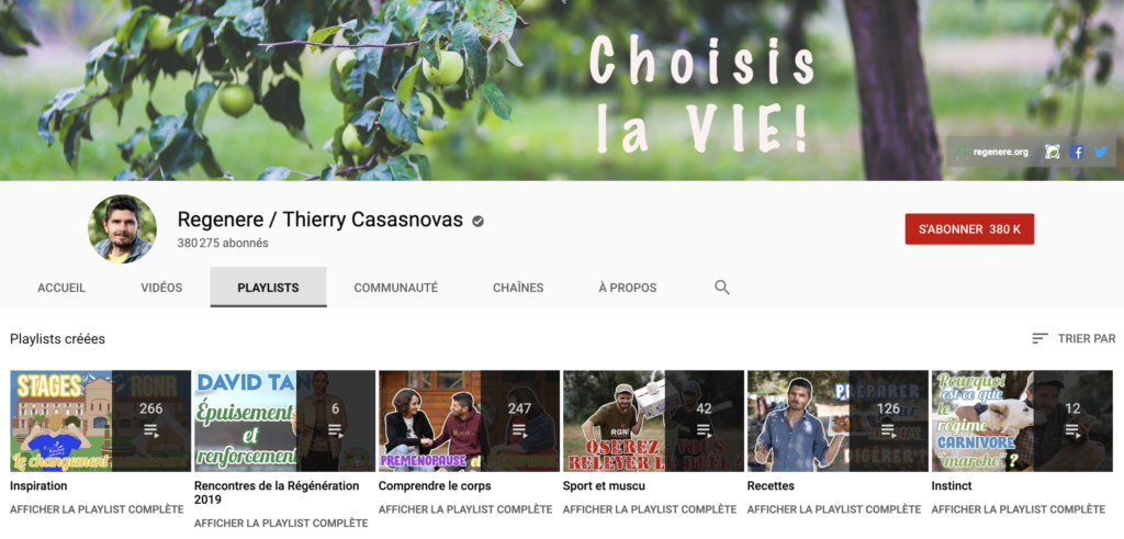 Thierry Casasnovas - chaîne Youtube Régénère